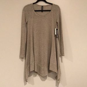 NWT Design Lab Taupe and Black Striped Dress